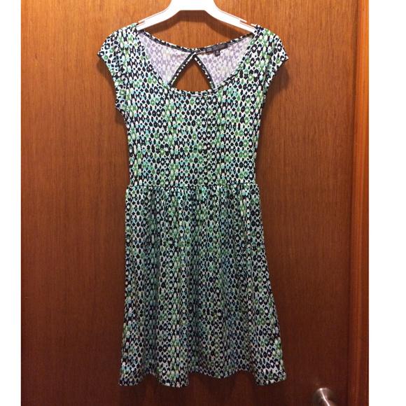 BeBop Dresses & Skirts - BeBop Printed Turquoise Cutout Back Skater Dress